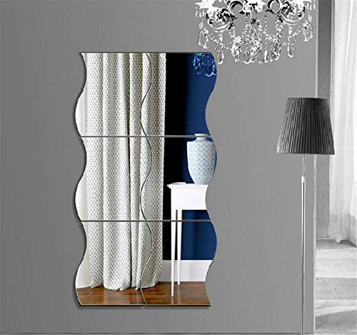 XEMZ Wave Mirror Wall Stickers, 6Pcs Self Adlhesive Removable 3D Acrylic Mirror Wall Sheet Pastic Mirror Tile, Art DIY Home Decorative for Living Room Sofa TV Background Bedroom Wall Decoration (L)