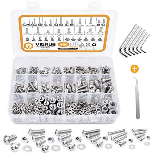 VIGRUE 460PCS Schrauben und Muttern Set, M2.5 M3 M4 M5 M6 M8 sechskopf schrauben, Edelstahl Innensechskantschrauben Muttern und Unterlegscheiben Sortiment Kit mit Aufbewahrungsbox und Schlüssel