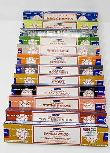 Satya Nag Champa and Sterling Effectz Combo Set of Incense Sticks and JR Incense Holder 12 Packs 15g, Multi Fragrances Set-JR15