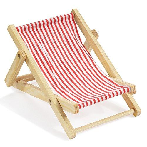 Deko-Liegestuhl ca. 15 cm rot-weiß