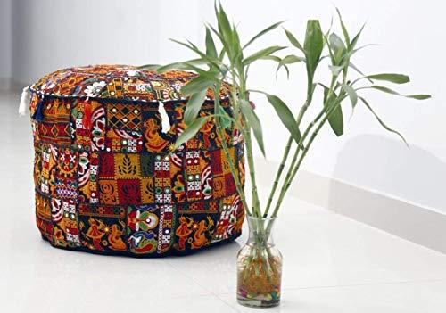GANESHAM - Cojín para el piso de algodón hippie y cojín de retazos para silla, bohemio, bordado a mano, puf otomano (negro, 33 x 18 pulgadas de diámetro)