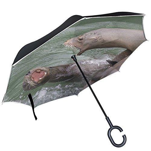 Alaza Cute Grumpy Otter Boot Dock Wasser Kampf seitenverkehrt Regenschirm Double Layer Winddichte Rückseite Faltbarer Regenschirm für Auto mit C-förmigem Henkel