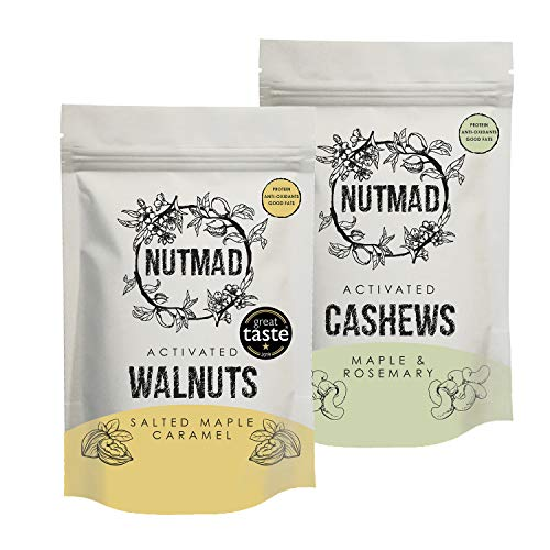 Nutmad Maple Syrup Activated Nuts Multipak, Activated Nuts, Suitable for Vegans and Gluten Free. 2X 70g