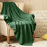 jinchan Throw Blanket Green Lightweight Cable Knit Sweater Style Year Round Gift Indoor Outdoor Travel Accent Throw for Sofa Comforter Couch Bed Recliner Living Room Bedroom 60 x 80 inches