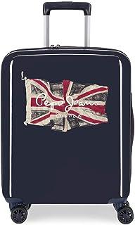 Pepe Jeans Flag Valise Trolley Cabine Bleu 40x55x20 cms Rigide ABS Serrure TSA 38.4L 2,9Kgs 4 roues Bagage à main