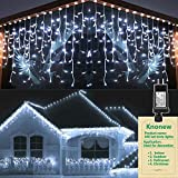 KNONEW LED Icicle Lights, 400 LEDs, 32ft, 8 Modes, Curtain Fairy Light with 75 Drops, Clear Wire LED String Decor for Christmas/Thanksgiving/Easter/Halloween/Party Backdrops Decorations (Cool White)