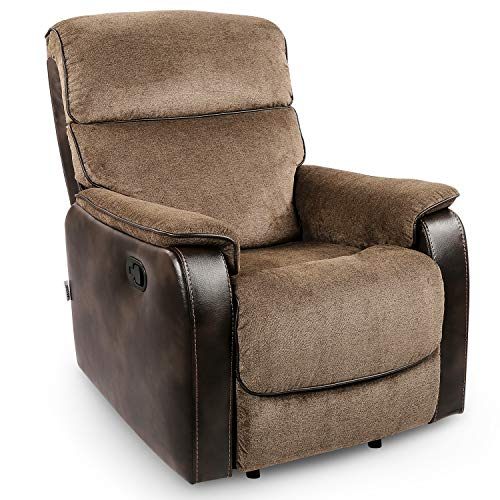 POMOHOME Fabric Recliner Chair Sofa, Rocker Recliner with Thick Seat Cushion and Backrest, Single Sofa Chair, Ergonomic Living Room Chair with Adjustable Angle, Brown