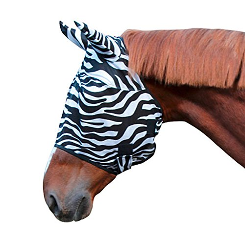 Kerbl 326121 Fliegenschutzmaske Zebra inklusiv Ohrenschutz, Warmblut