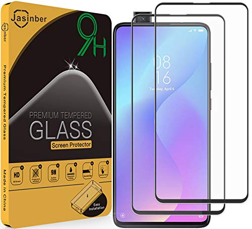 Jasinber 2-Pack Mica Vidrio Cristal Templado Protector de Pantalla para Xiaomi Mi 9T(Negro)