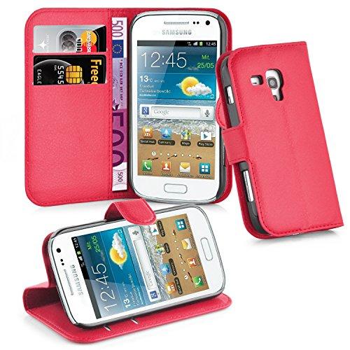 Cadorabo Custodia Libro per Samsung Galaxy Trend Plus in Rosso Carminio – con Vani di Carte, Funzione Stand e Chiusura Magnetica – Portafoglio Cover Case Wallet Book Etui Protezione