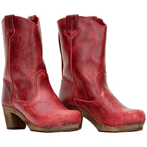 Sanita Laureen Clog-Stiefel | Original handgemachte Leder-Holzstiefel für Damen, Größe: 36 EU, Rot