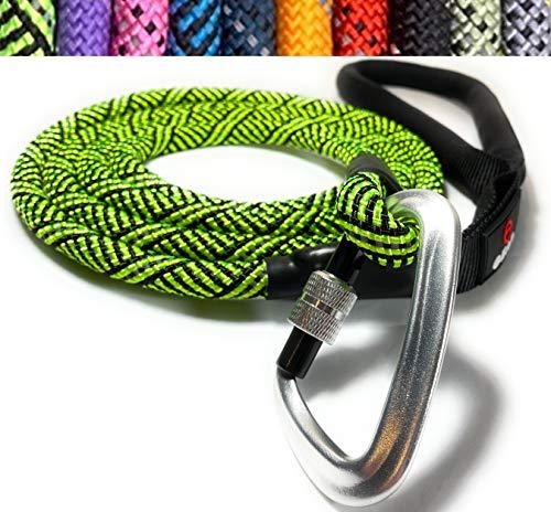 Enthusiast Gear Kletterseil Hundeleine mit Karabinerhaken für große und mittelgroße Rassen, robust und langlebig mit reflektierendem Geflecht und komfortablem gepolstertem Griff (1,8 m), hellgrün