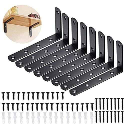 Soporte de estante negro resistente,Soportes para estantes de montaje en pared,Ángulo del estante del soporte del estante,Escuadra de soporte de estante,Soporte de estante negro (8 pcs)