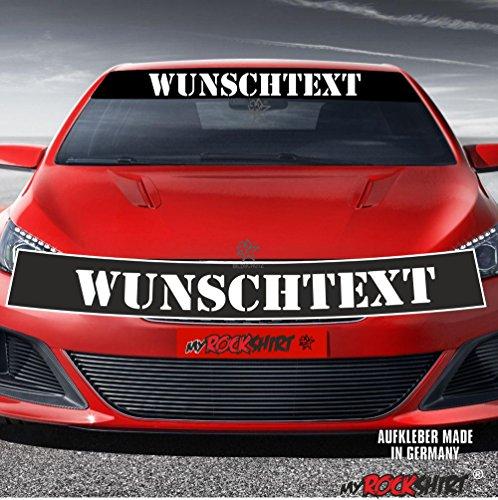 Motorsport Blendstreifen+Wunschtext Aufkleber für alle PKW Personalisierter Text Aufkleber freie Farb&Text Wahl Keil Sonnenschutz Blendschutz Aufkleber