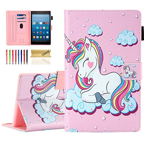 Dteck Case for Fire HD 8 Tablet (8th Generation 2018 /7th Generation 2017 /6th Generation 2016) - Protective Leather Wallet Smart Stand Cute Flip Cover with Auto Sleep Wake/Stylus Pen, Smile Unicorn