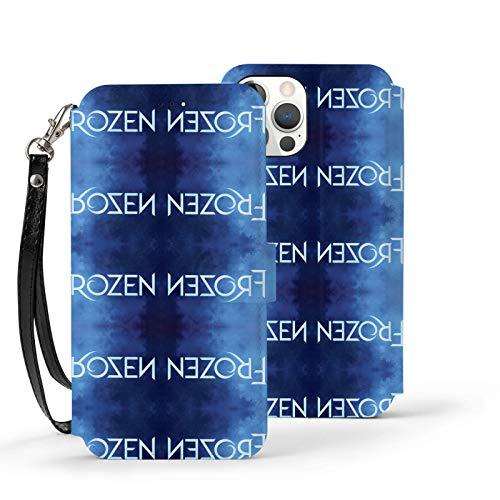 Nueey Fro-Zen A-P-L-E - Funda básica para iPhone 12 con ranura para tarjeta de piel para mujer, color azul