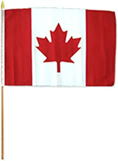 ALBATROS 12 inch x 18 inch (6 Pack) Canada Stick Flag with Wood Staff for Home and Parades, Official Party, All Weather Indoors Outdoors