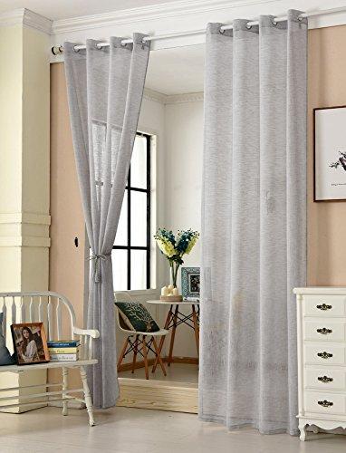 WOLTU® VH5861hgr-2, 2er Set Gardinen transparent mit Ösen Leinen Optik, Doppelpack Ösenschal Vorhang Stores Voile Fensterschal Dekoschal für Wohnzimmer Kinderzimmer Schlafzimmer, 140x245 cm, Hellgrau