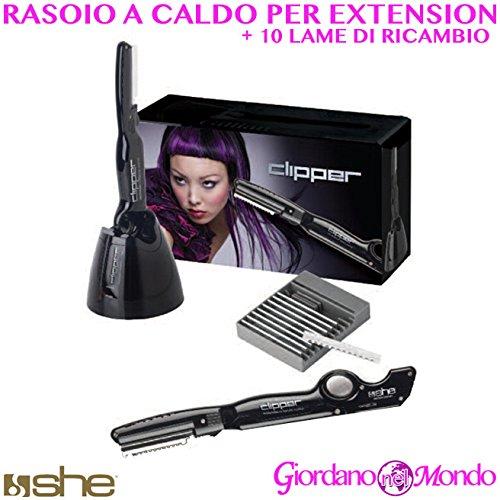 Rasoir à chaud sans fil + 10 lames de rechange pour extensions capillaires She professionnel pour coiffeur