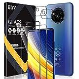 EGV Compatibile con Xiaomi Poco X3 Pro/Xiaomi Poco X3 NFC Protector de Pantalla,2 Pack Cristal Templado e 2 Pack Protector de Lente de Cámara