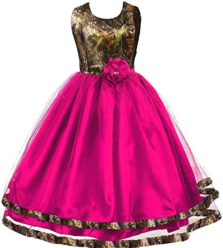 DINGZAN Princess Flower Girl Dress Camo and Tulle Banquet Birthday Party Gowns 8 Fuchsia product image
