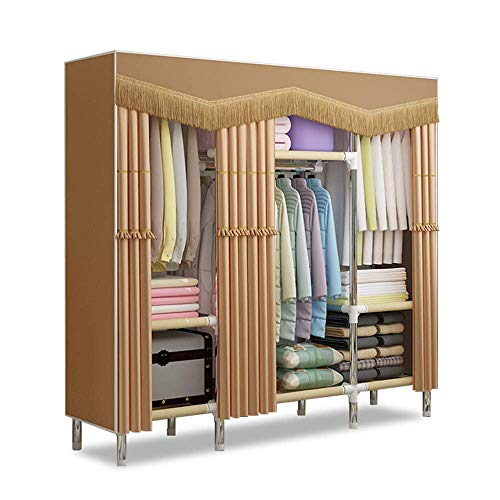 LIPENLI Organizador cajones Gabinete Asamblea conveniente Dormitorio Ropa de muebles armario de tela gruesa tela de la cortina de tela plegable Armario de almacenamiento Organizador