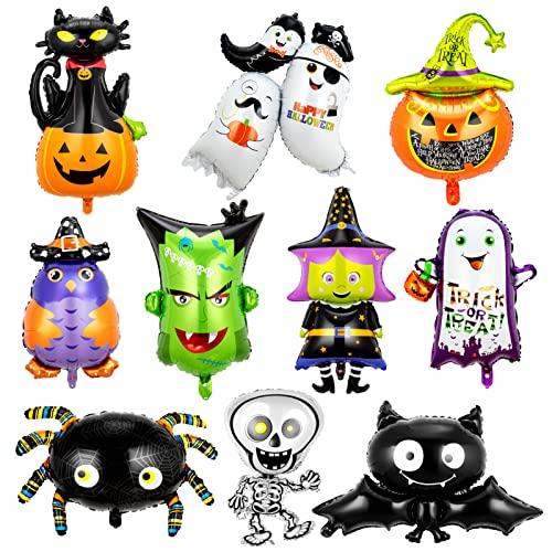 Onmaita Globos de Halloween Aluminio 10 Piezas, Calabaza, Bruja, Gato Negro, Esqueleto, Murciélago, Araña, Globo Para Niños, Decoraciones Para Fiestas de Halloween, Suministros Para Exteriores