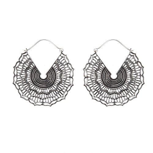 81stgeneration Women's Silver Tone Brass 50 mm Aztec Egyptian Ethnic Disc Mandala Hoop Earrings