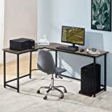 Symylife Escritorio de Esquina Escritorio de Oficina para el hogar Escritorio de computadora en Forma de L Mesa de Juegos para Oficina en casa, L168 * D120 * H75CM, Vintage Grain