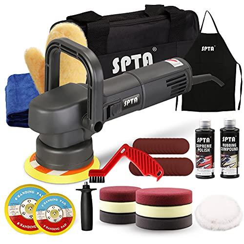 SPTA Pulidora Coche, Pulidora excentrica, 6 velocidades Variables 2000RPM-5500RPM, Base 150-mm/125-mm, D-Mango Desmontable/Mango Lateral, 3M Cable, Lijadora para pulir Auto -6840150PT