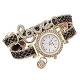 Yivise Moda Mujer Reloj de Pulsera Hermosa Pulsera Diamante Cuarzo Elegante Amor Joyería Tejido Dial Redondo Mini Relojes(A)
