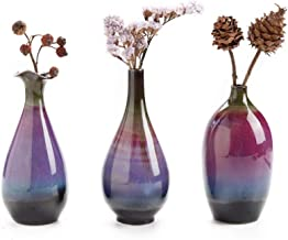 LH Ceramic Flower Vase Set of 3, Special Design Style of Fuchsia, Smooth and Bright Glaze,Decorative Modern Floral Vase fo...