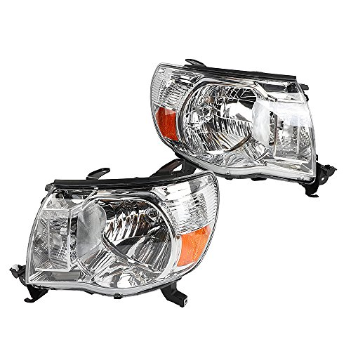 2PC Driver & Passenger Headlights Headlamps Set Replacement fit for 2005 2006 2007 2008 2009 2010 2011 Toyota Tacoma Chrome Housing with Amber Reflector