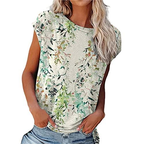 SLYZ Camiseta De Manga Corta para Mujer, Camiseta Sin Mangas con Estampado Floral De Verano, Camiseta Informal Holgada con Cuello Redondo, Ropa De Calle para Mujer