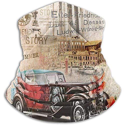 Sciarpa Tubolare,Multiuso Fascia,Fascia Collo Foulard,Retro Vintage Chic Edifici Di Fama Mondiale Italia Torre Pendente Di Pisa Fiore Di Papavero Rosso Auto Classiche Fascia Per Capelli All'Aperto,