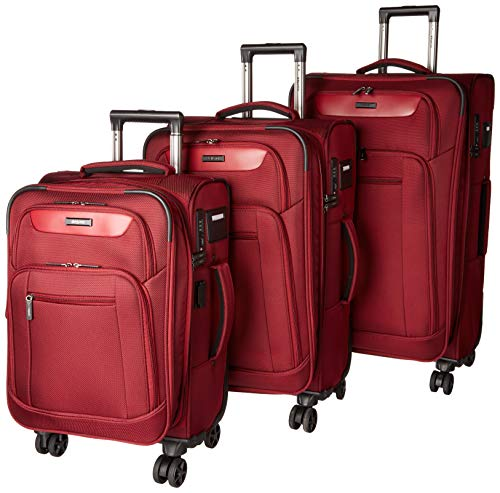 Dejuno Executive 3-Piece Spinner Luggage Set with USB Port, Burgundy