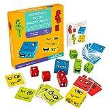 O-Kinee Cube en Bois Jouets Montessori Face Changing Puzzle Toys Formation à la Pensée Logique Blocs de Construction de Puzzle Éducatif Jeux Cadeau pour Enfants d'âge Préscolaire