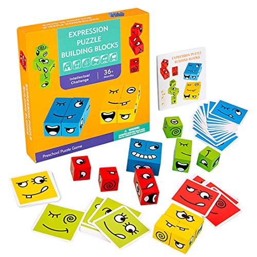 O-Kinee Cubos de Cambio de Cara de Juguete Montessori Juguetes Educativos Bloques Pensamiento Entrenamiento Lógica Rompecabezas Educativos Regalo para Niños en Edad Preescolar
