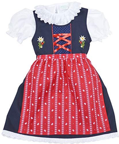 Schrammel Kinderdirndl Gr 62-140 Kindertrachten 3 TLG (62-68, Blau-Rot)