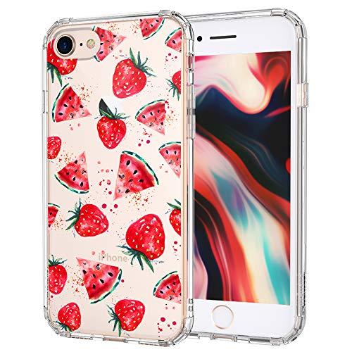 MOSNOVO iPhone SE 2020, iPhone 8 Hülle, iPhone 7 Hülle, Wassermelone und Erdbeere Muster TPU Bumper mit Hart Plastik Hülle Durchsichtig Schutzhülle Transparent für iPhone 7 / iPhone 8 /iPhone SE 2020