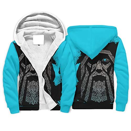 Ballbollbll Herren Viking Odin Blau Hoodies Top Unisex Stilvoll Gemusterte Arbeitskleidung Kapuzenpullover Mäntel mit Reißverschluss, Kordelzug und Tasche Gr. XXXXL , weiß