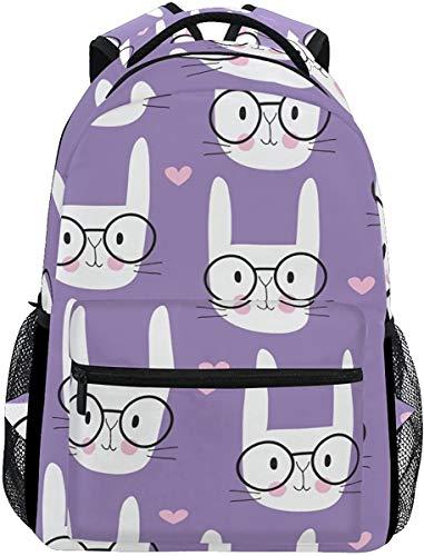 MODORSAN Mochila escolar informal con diseño de conejito, mochila de viaje ligera, bolso de hombro universitario para mujeres, niñas y adolescentes