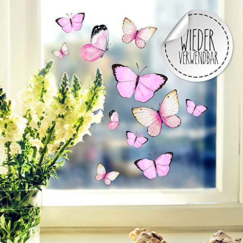 Fensterbilder Fensterbild Schmetterlinge rosa wiederverwendbar Frühling Frühlingsdeko Fensterdeko bf55 - ausgewählte Farbe: *bunt* ausgewählte Größe: *2. Schmetterlinge rosa*