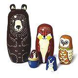 Matrioska rusa para niños, 5 unidades, animales matrioska, juguete de madera, a partir de 3 años, regalo (oso de bear)