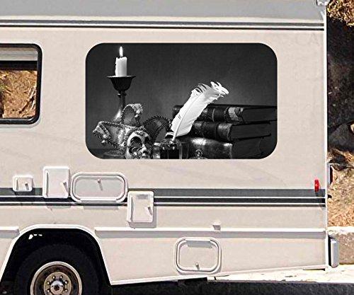3D Autoaufkleber Theater Drama Maske Feder Kunst schwarz weiß Wohnmobil Auto Fenster Motorhaube Sticker Aufkleber 21A267, Größe 3D sticker:ca. 96x58cm
