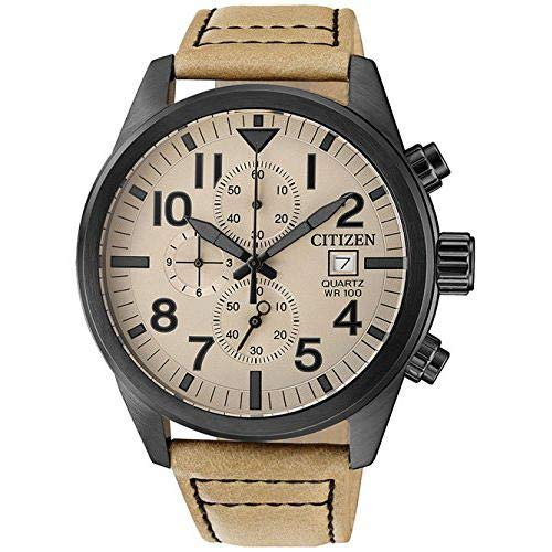 Citizen Herren Chronograph Quarz Uhr mit Leder Armband AN3625-07X