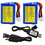 Blomiky 2 Pack 7.4V 1100mAh Li-ion Rechargeable Battery and USB Charger Cable fit for HONGXUNJIE 2.4GHz RC Boat HJ808 Battery 2