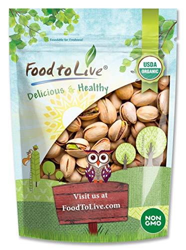 Organic Pistachios, 8 Ounces - In Shell, Dry Roasted with Sea Salt, Non-GMO, Kosher, Vegan, Bulk