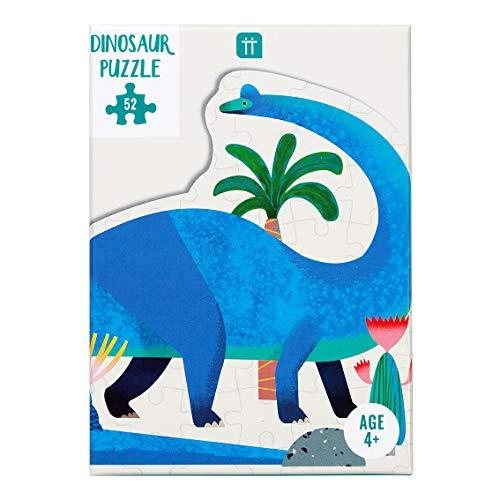 Rompecabezas y póster Dinosaurio en Forma de braquiosaurio Azul de 52 Piezas, Color Brachiosaurus (Dino PUZZ Brach)