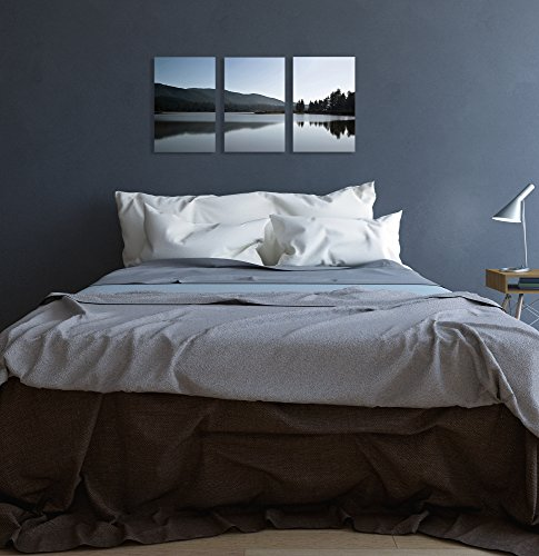 The Stupell Home Decor Collection Mountains and Lake 3-Piece Canvas Art Set